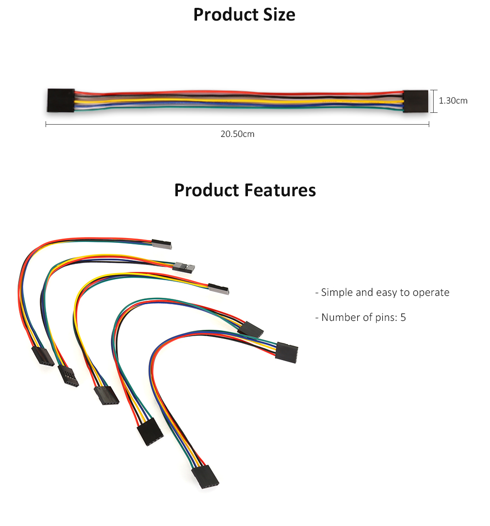 LDTR - YJ010 5 Pin Female to Female Breadboard Connector Cable for Arduino