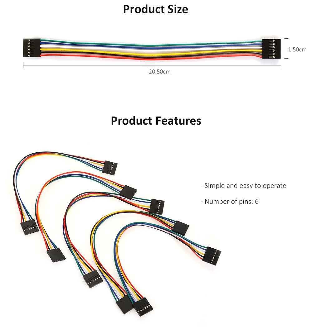LDTR - YJ011 6 Pin Female to Female Breadboard Connector Cable for Arduino