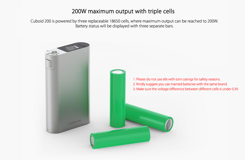 Original Joyetech CUBOID 200W TC Box Mod with VW / VT / Ni / Ti / SS316 / TCR Modes / Preheat Function / Firmware Upgradeable for E Cigarette