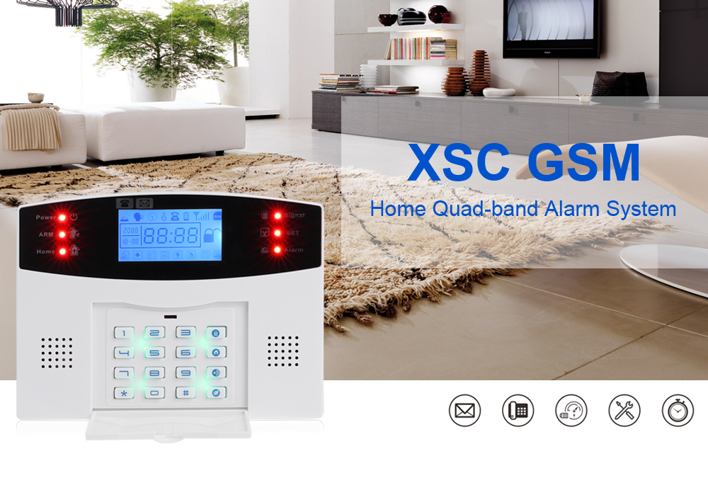 XSC GSM Quad-band Alarm System with LCD Display for Home Security