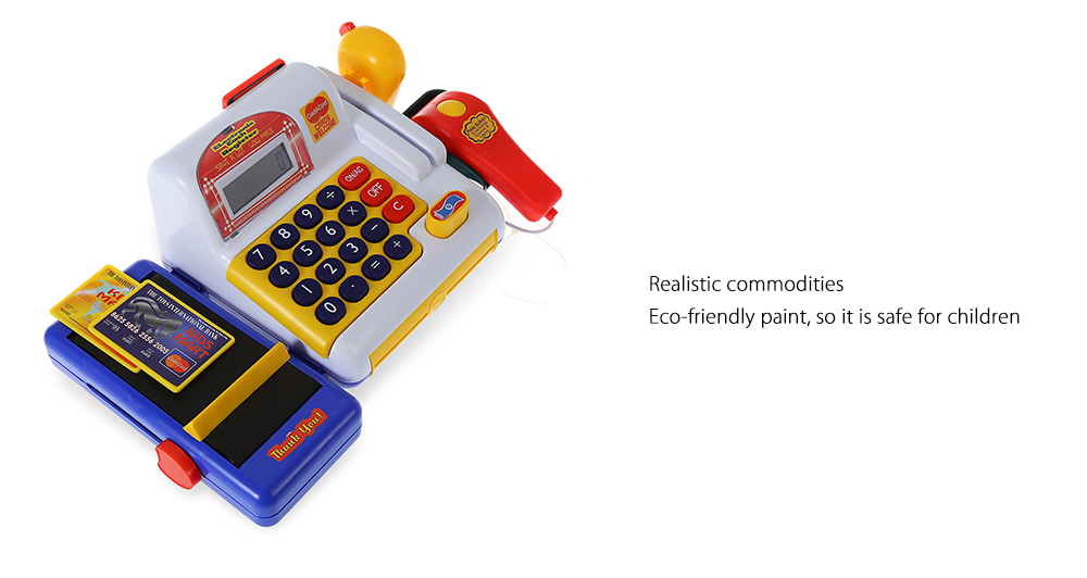 Realistic Plastic Cash Register with Movable Parts and Fun Accessories