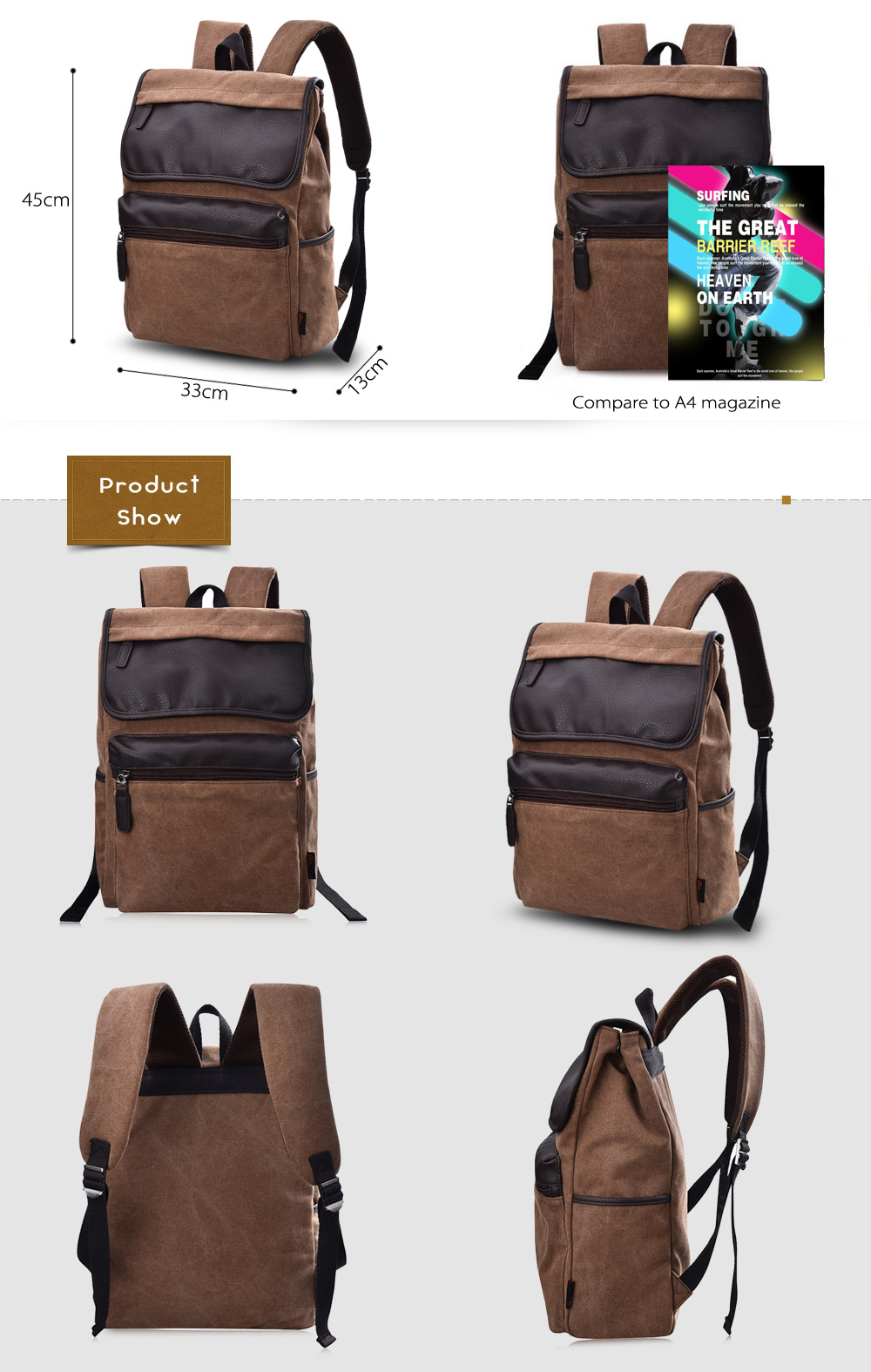 Douguyan 15.6 inch PU Canvas Splicing Backpack Leisure Travel Laptop Bag
