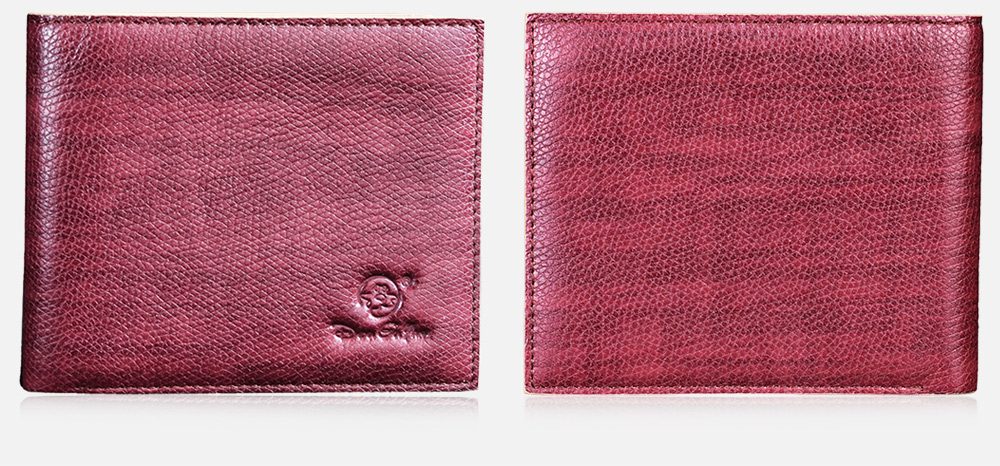 Douguyan Embossed Leather Billfold Wallet Business Card Holder