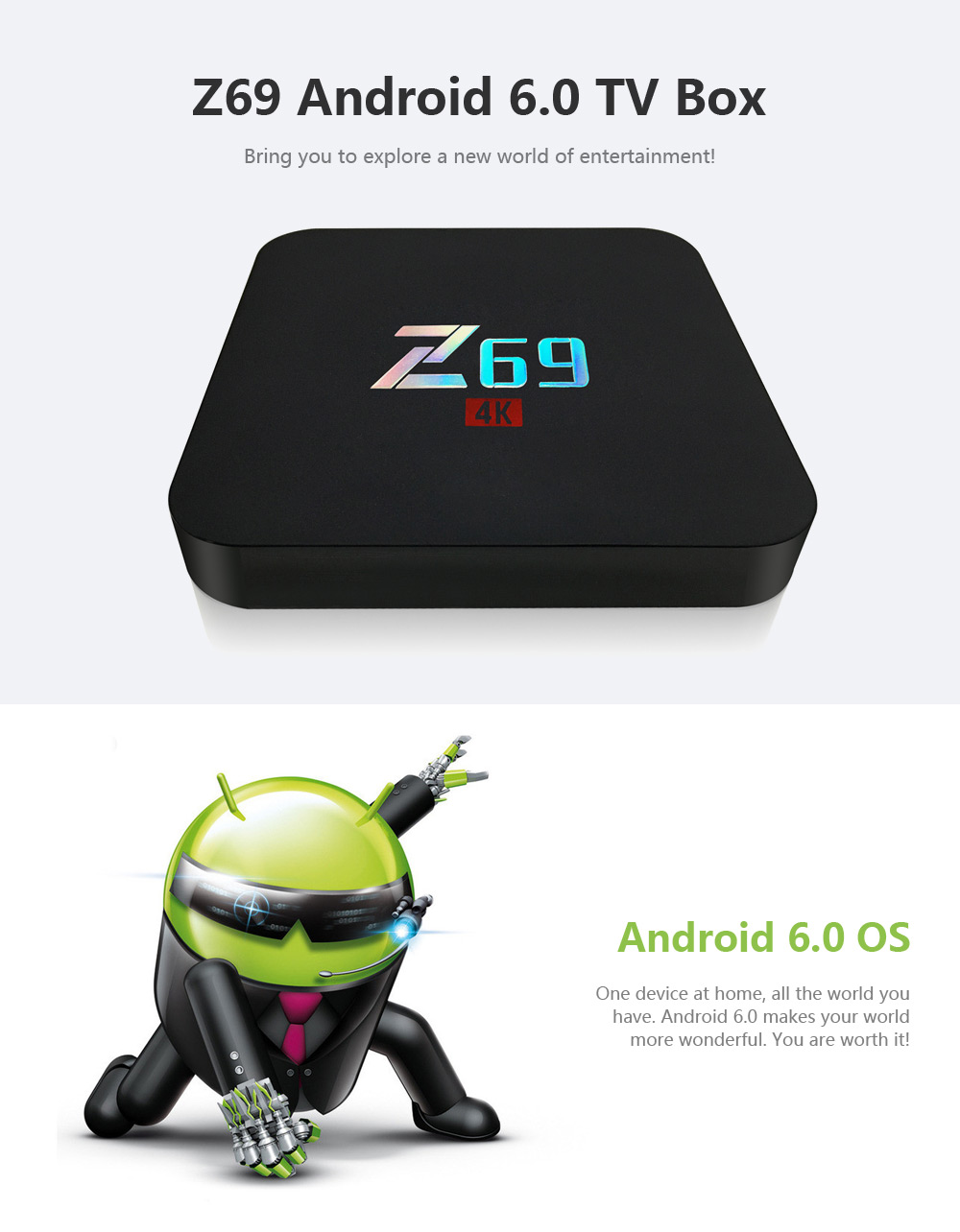 Z69 Android 6.0 TV Box Amlogic S905X Quad Core Cortex A53 Streaming Media Player