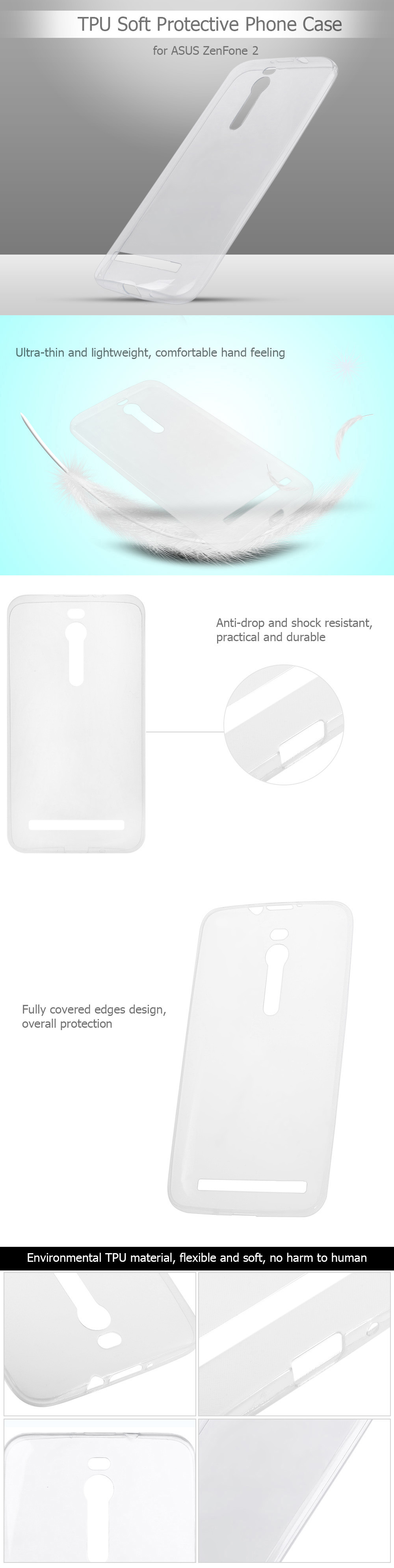 Luanke Transparent TPU Soft Case Protective Cover Phone Protector for ASUS ZenFone 2