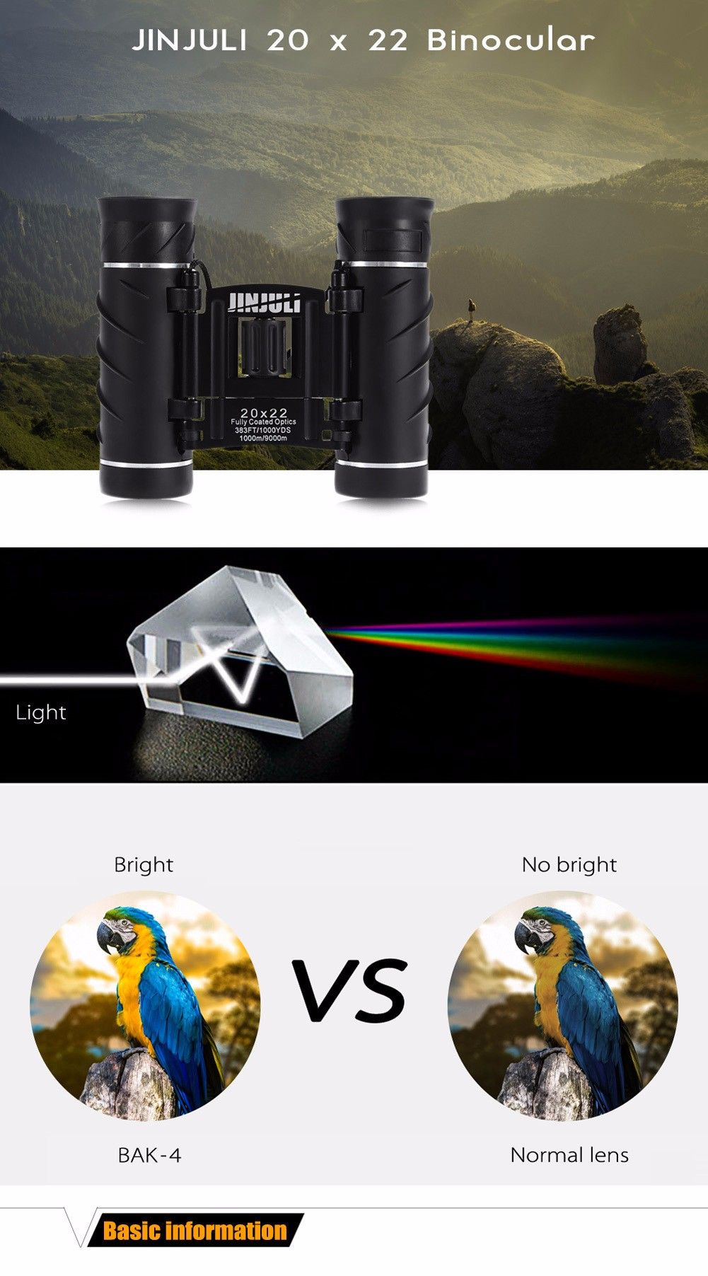 JINJULI 20 x 22 HD Night Vision Binocular Telescope for Outdoor Sports
