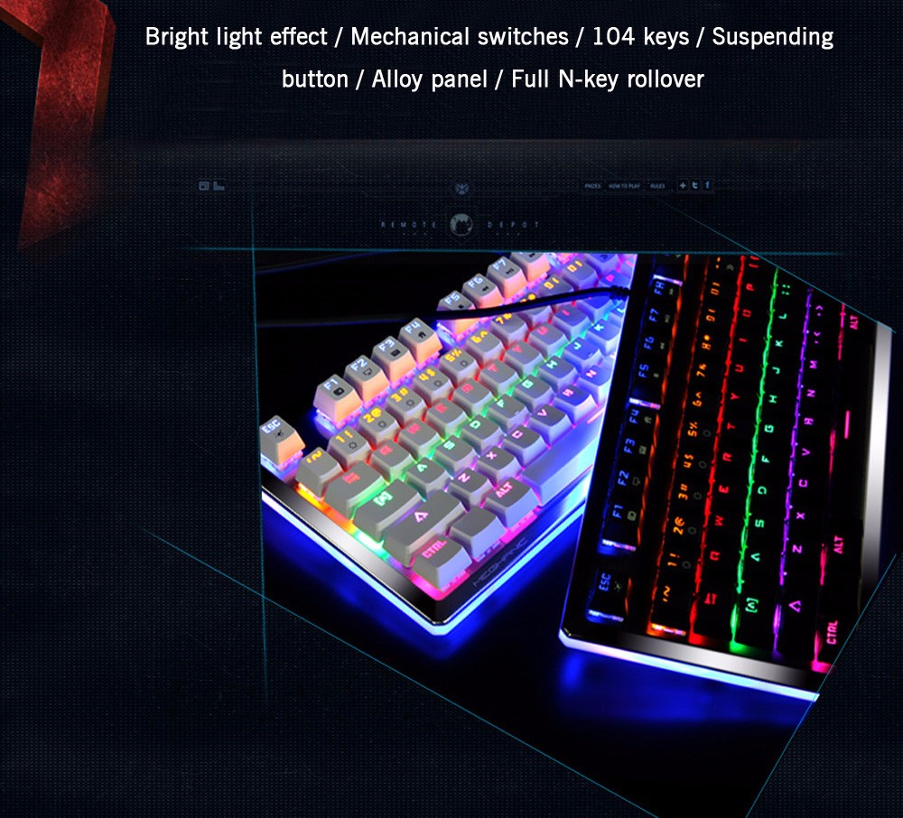 E - 3LUE K727 Gaming Mechanical Keyboard Wired with Colorful Backlight Full N-key Rollover