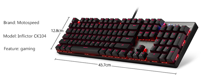 Motospeed Inflictor CK104 Gaming Mechanical Keyboard Ergonomic Virtual Keyboards with Backlight