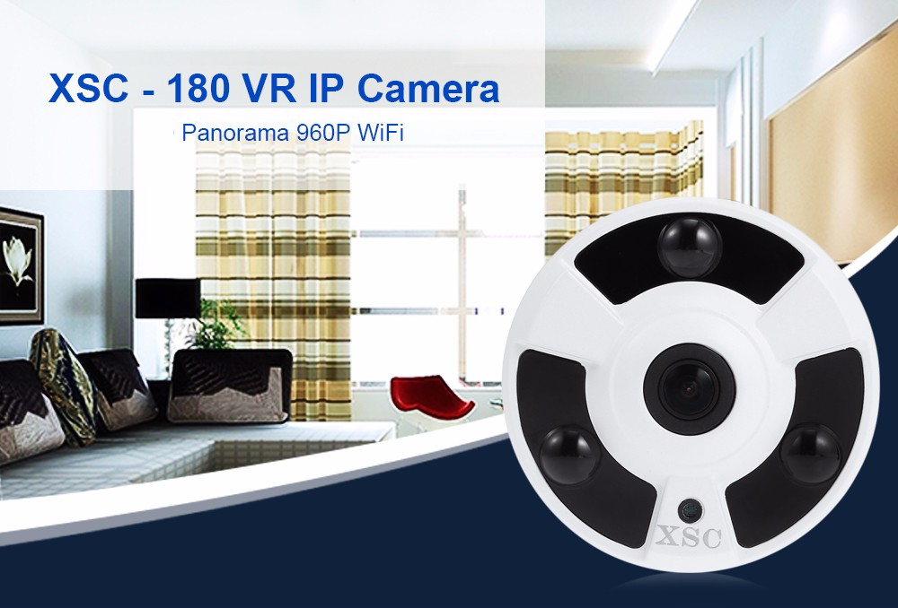 XSC - 180 1.0MP 960P HD 360 Degree Panoramic IP Camera IR-cut Motion Detection
