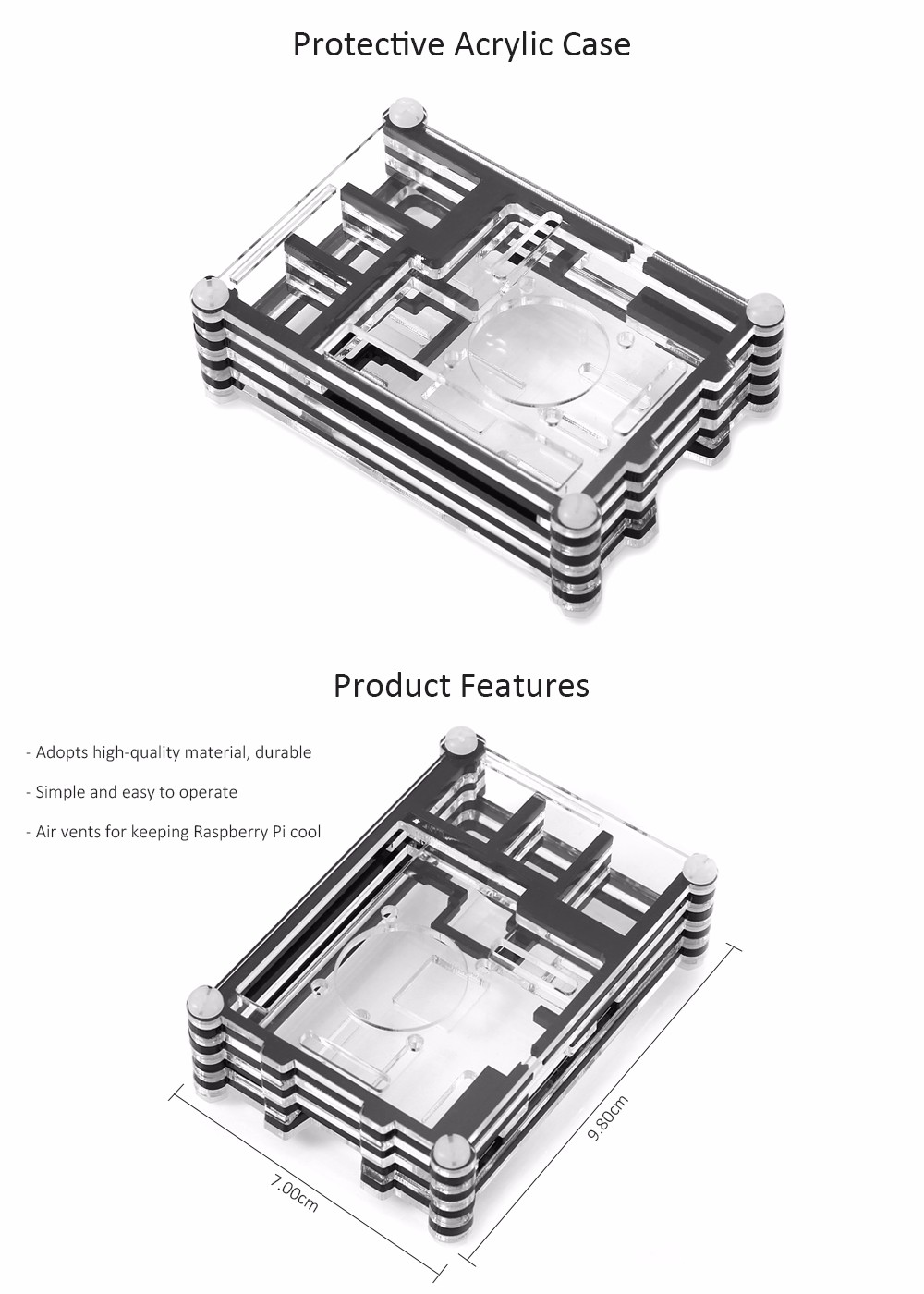 Protective Acrylic Case Protective Enclosure for Raspberry Pi 2B / B +