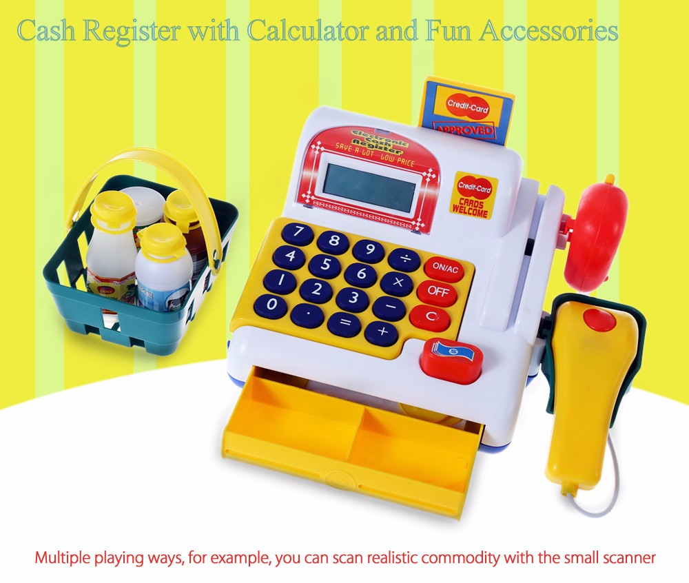 Simulation Plastic Cash Register with Movable Parts and Fun Accessories