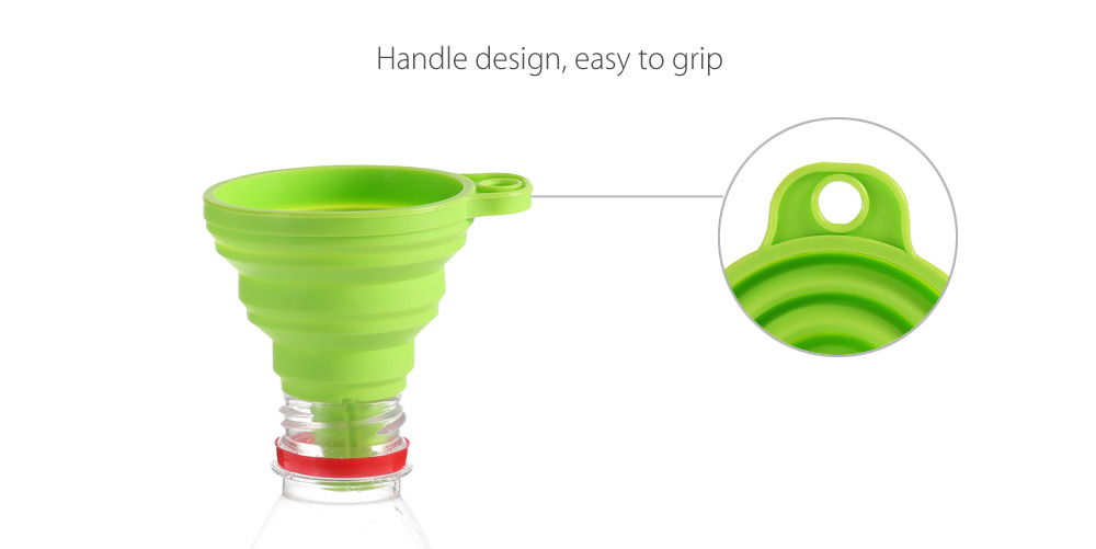 SUMSHUN Mini Kitchen Silicone Round Folding Funnel