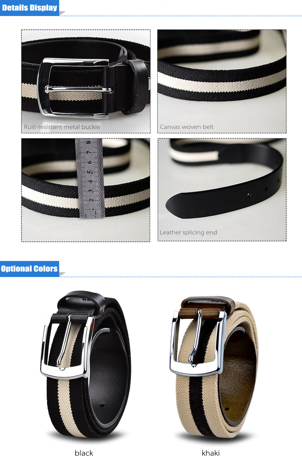 Douguyan Canvas Pin Buckle Leisure Belt for Outdoor Sports