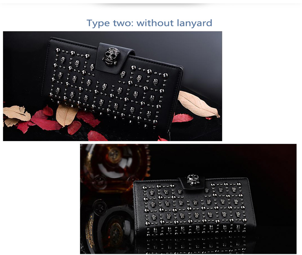 Douguyan Skull Rivet Billfold Wallet PU Dinner Clutch Bag