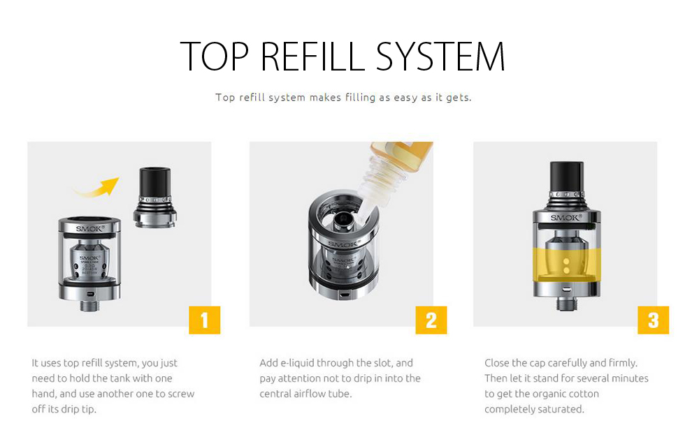 Original Smok Spirals Clearomizer with 2ml Capacity / 0.6 ohm / 0.3 ohm / Top Filling for E Cigarette