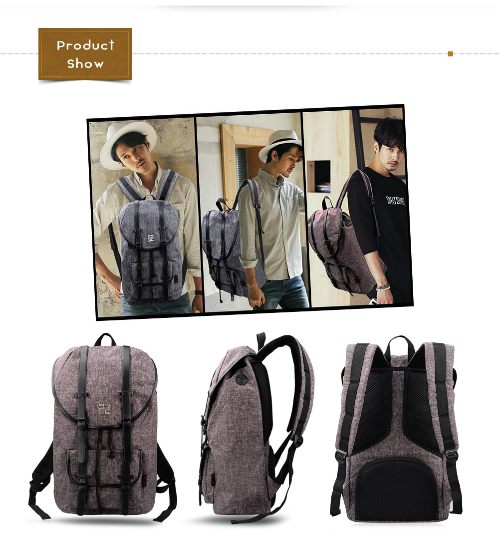 Douguyan 14 inch 22.9L Vintage Laptop Backpack Leisure Travel Canvas Bag
