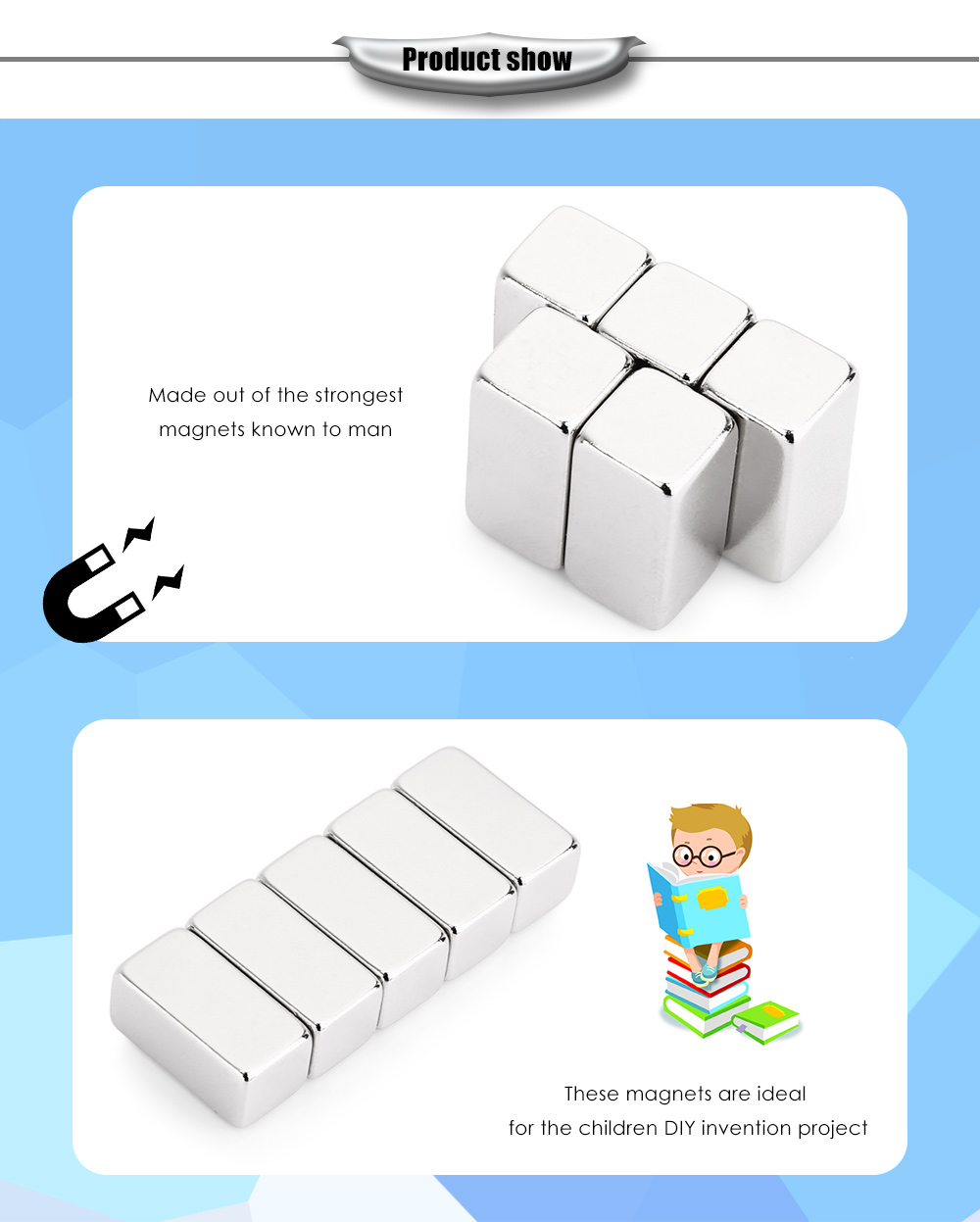 20 x 10 x 10mm N42 Strong NdFeB Square Magnet Birthday DIY Intelligent Gift - 5pcs / set