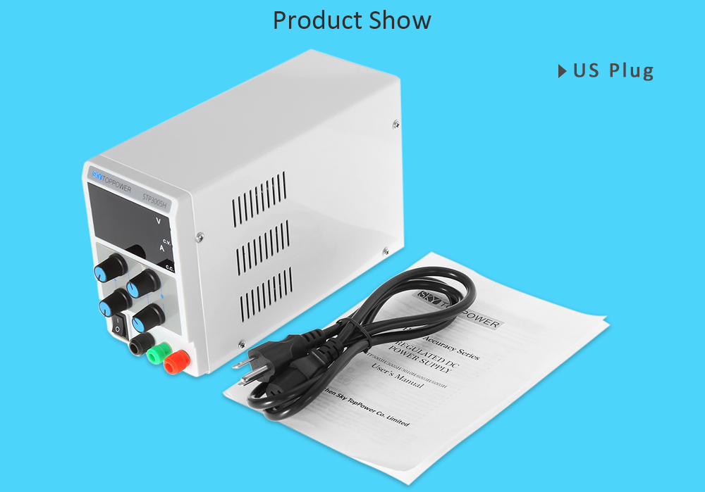 SKYTOPPOWER 4 Digits High Precision 0 - 30V 0 - 5A Adjustable DC Power Supply