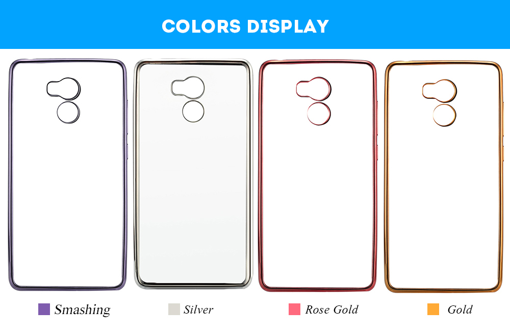 ASLING TPU Soft Protective Phone Case for Xiaomi Redmi 4 Ultrathin Transparent Shell Electroplated Edge