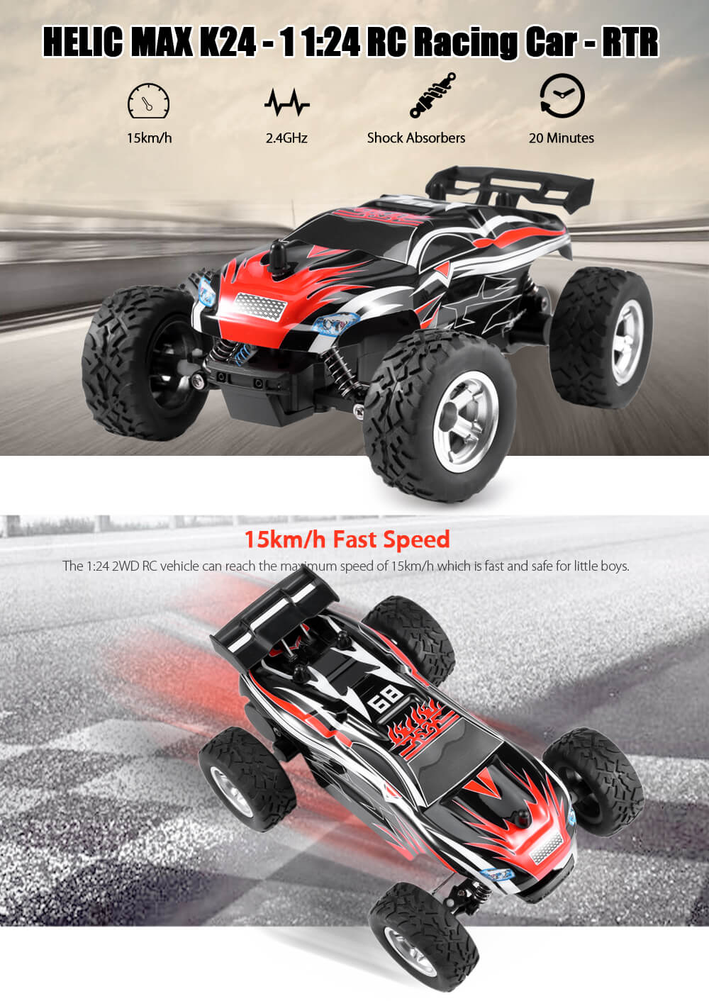 HELIC MAX  K24 - 1 1:24 RC Racing Car RTR 15km/h 2.4GHz 2WD Shock Absorbers