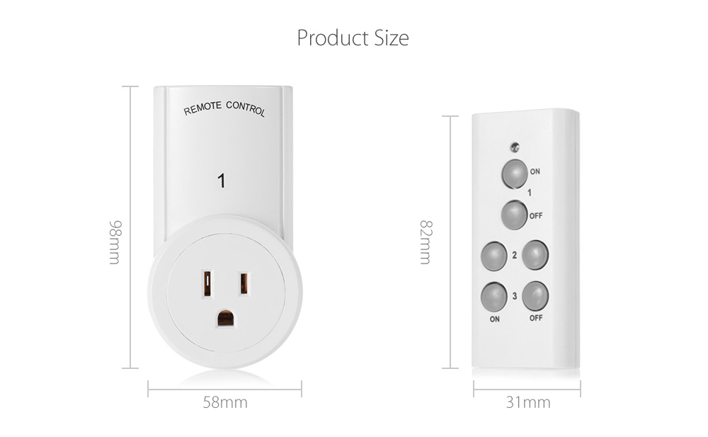 TS - 832 - 3 - 2 Wireless RC Power Outlet US Plug Socket Switches with Two Remote Controller for Lamps Household Electronic Devices 120V - 3pcs