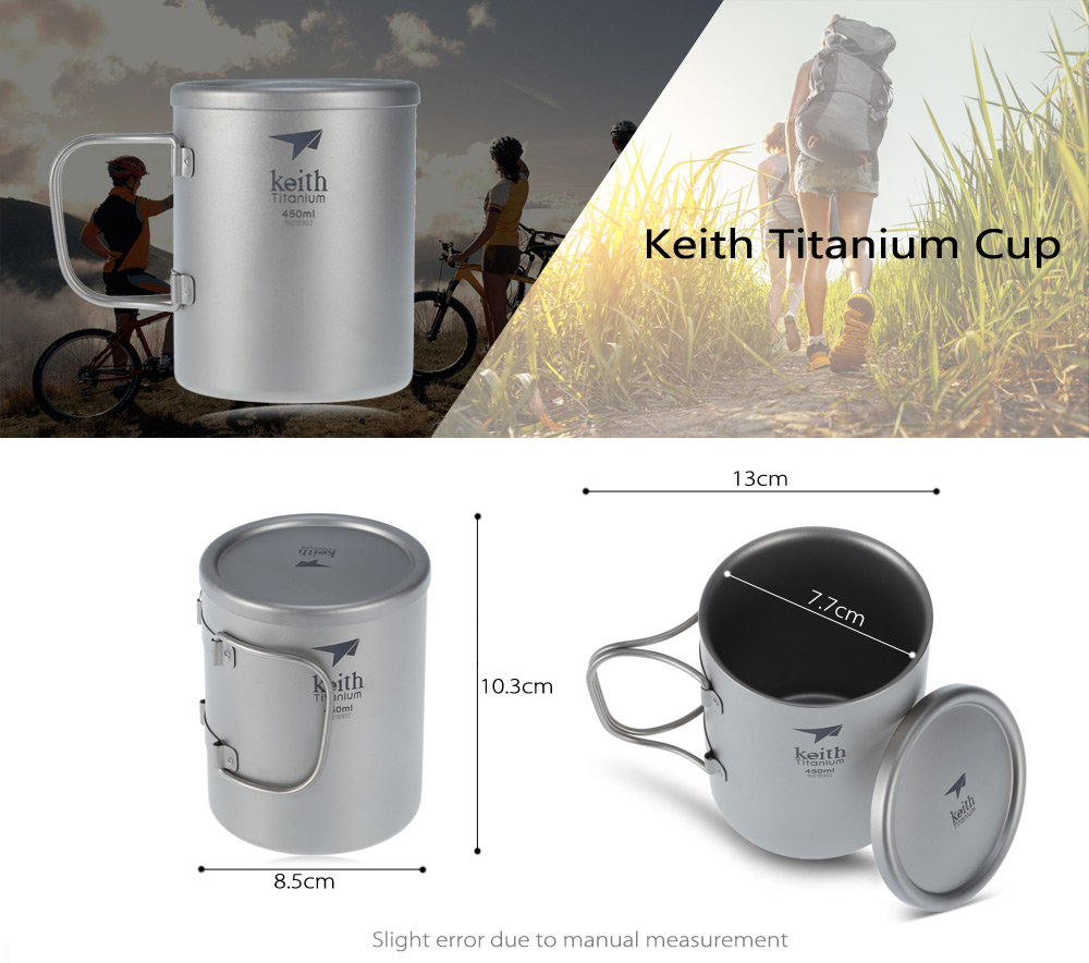 Keith Ti3343 450mL Titanium Cup Mug with Cover / Folding Handle