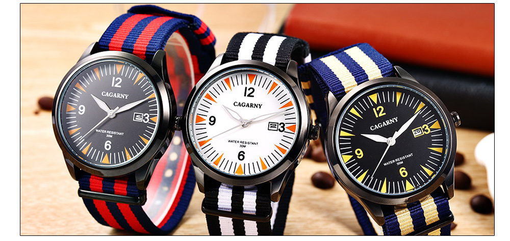 CAGARNY 6859 Mixed Color Canvas Strap Unisex Quartz Watch