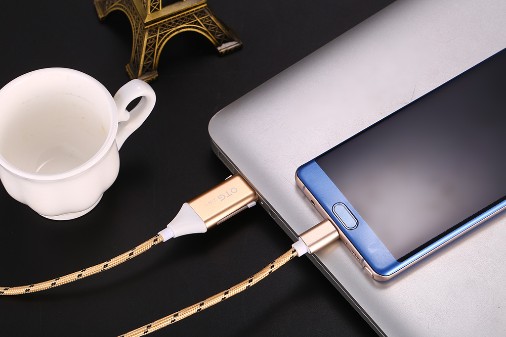 Mimao USB OTG 2-in-1 Cable Type-C Data Sync Charging Cord - 1m