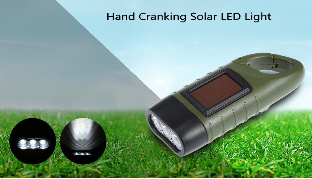 Portable Camping Hand Cranking Solar LED Light Torch with Hanging Buckle