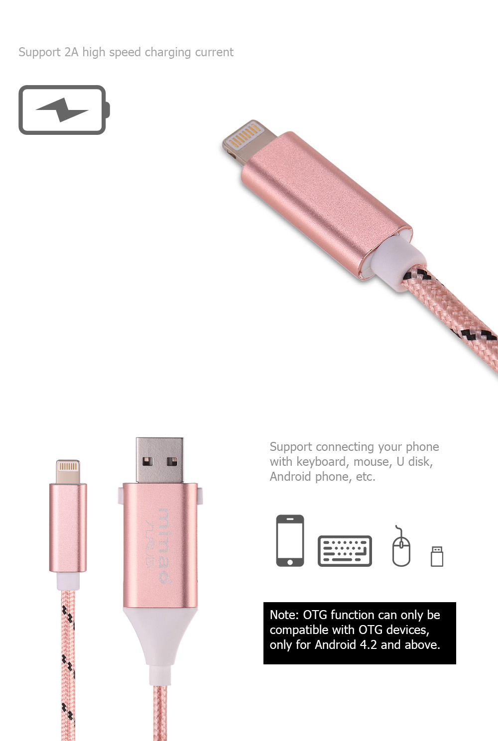 Mimao USB OTG 2-in-1 Cable 8 Pin Data Sync Charging Cord - 1m