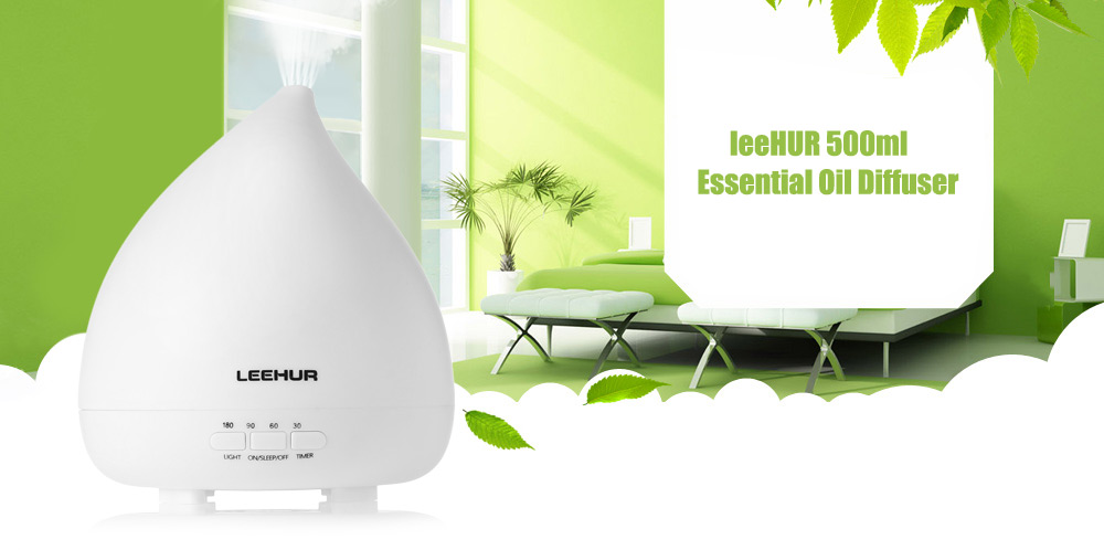 leeHUR 500ml Essential Oil Diffuser Ultrasonic Cool Mist Humidifier for Home Office