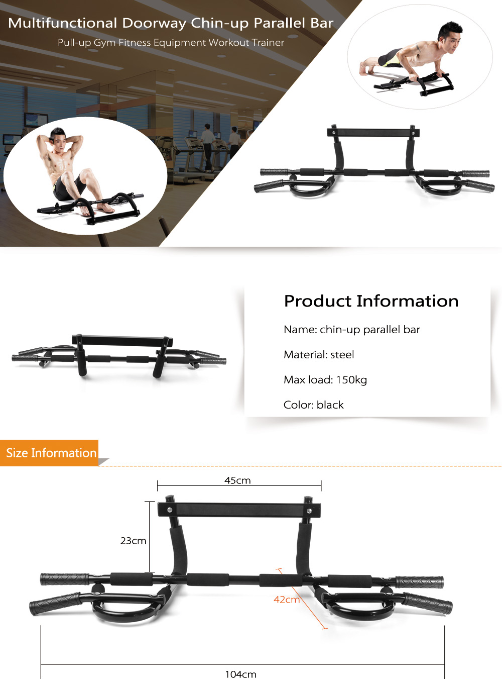 Multifunctional Doorway Chin-up Parallel Bar Pull-up Gym Fitness Equipment Workout Trainer