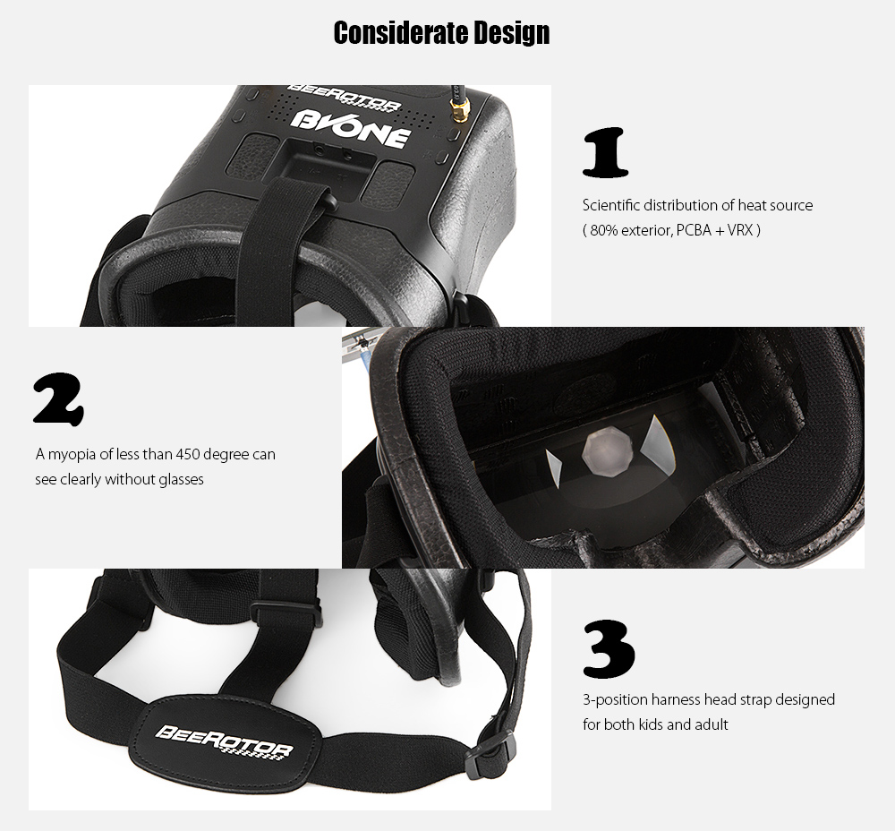 BEEROTOR BVONE FPV Goggles 5.8G 40CH / 5 inch 800 x 480px Screen / Dual Antennas