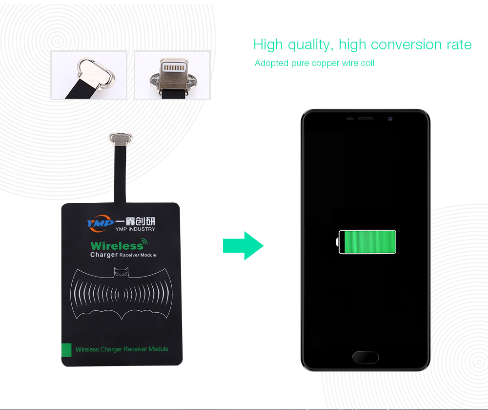 YMP Qi Standard 8 Pin USB Wireless Charger Receiver Patch Acceptor