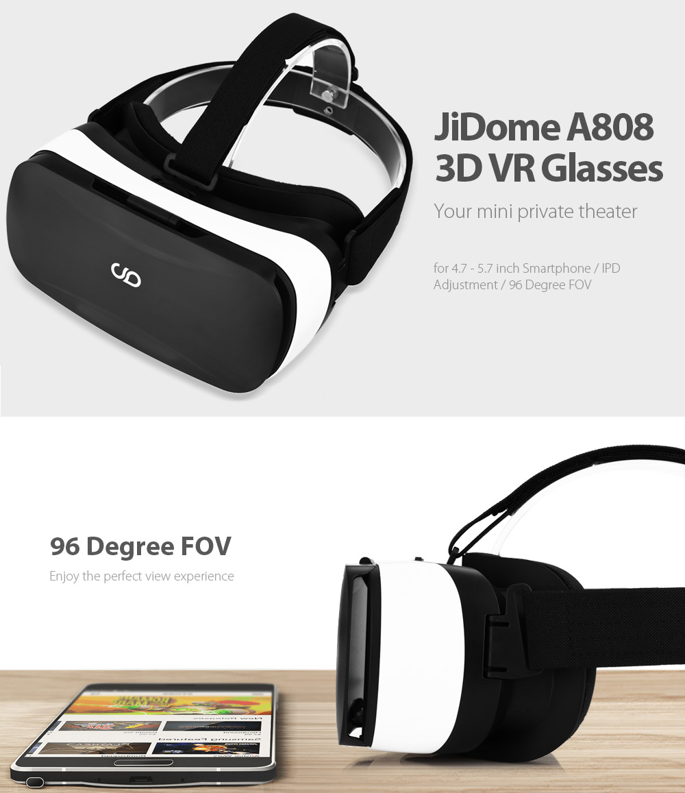 JiDome A808 3D VR Glasses Virtual Reality Devices for 4.7 - 5.7 inch Smartphone
