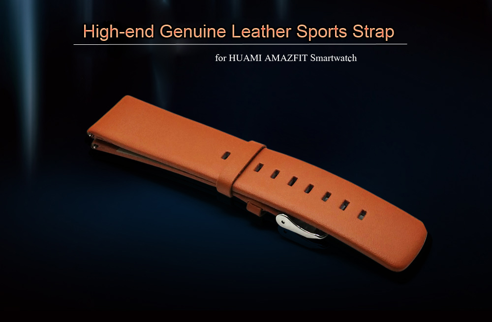 22mm Genuine Leather Wristband Pin Buckle for HUAMI AMAZFIT Smart Bracelet