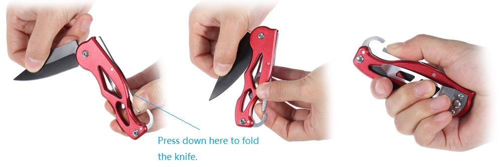 Portable 440C Stainless Steel Blade Folding Knife with Hanging Buckle