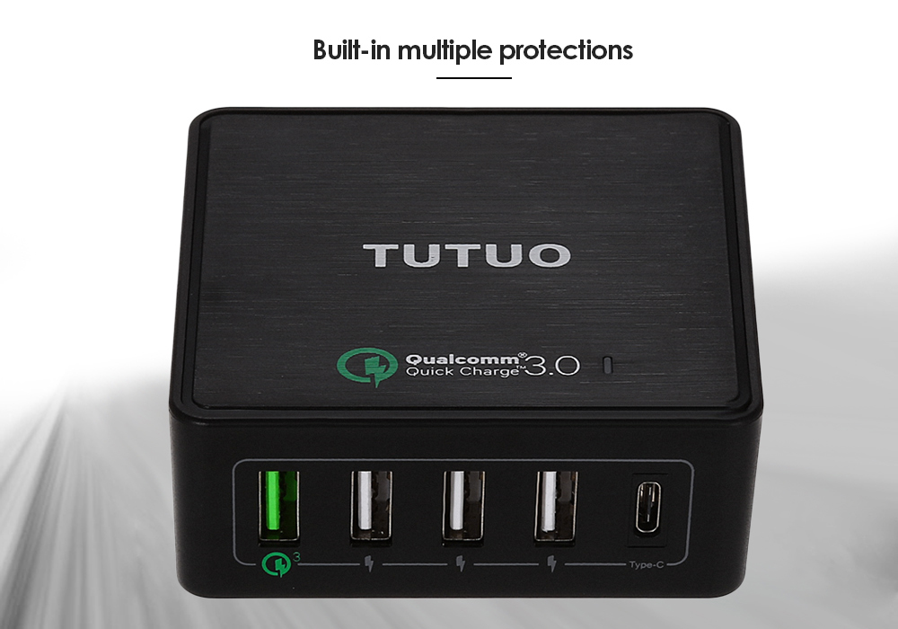TUTUO QC 3.0 Quick Charge Power Dock Charger 4 USB Output Type-C Port