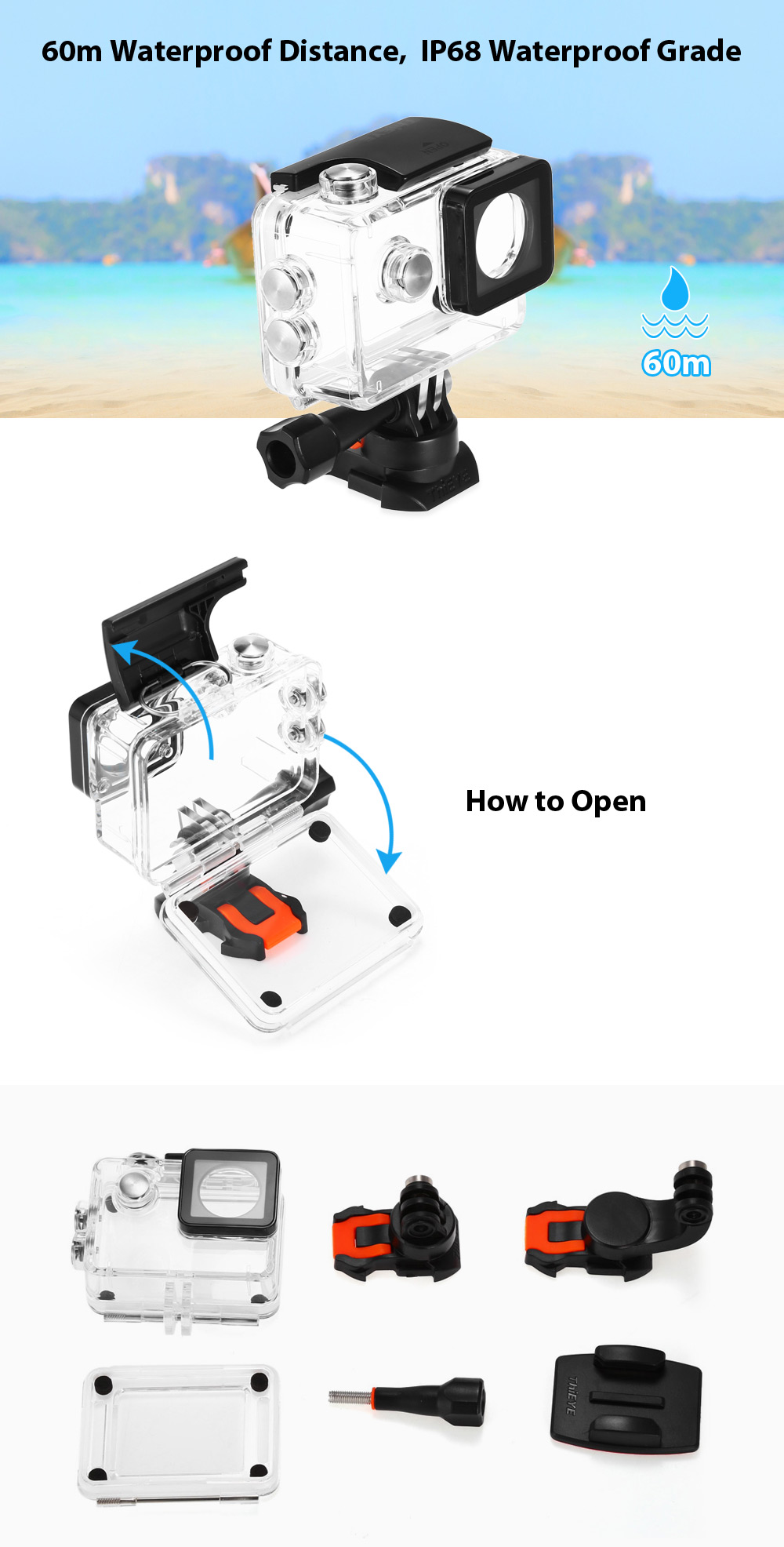 ThiEYE 60m IP68 Waterproof Housing Kit for T5e Action Camera