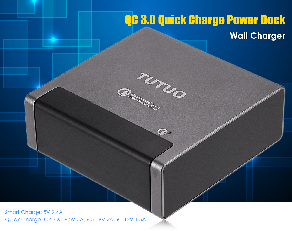 TUTUO QC 3.0 Power Dock Wall Charger 4 USB Output Ports Quick Charge