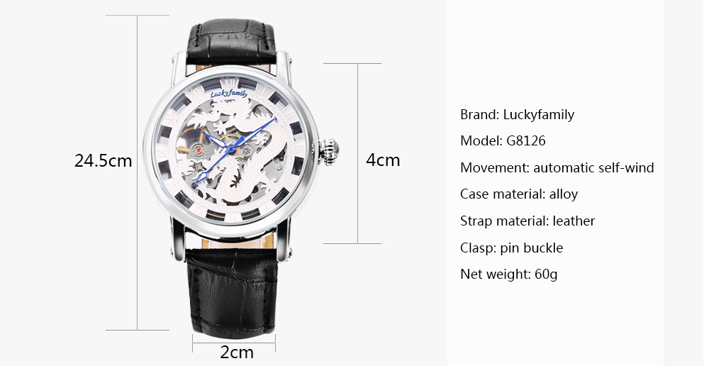 Luckyfamily G8126 Automatic Mechanical Watch Hollow-out Dial Wristwatch