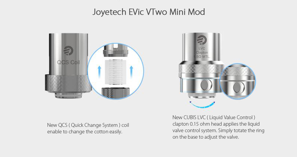 Original Joyetech EVic VTwo Mini with CUBIS Pro Mod Kit with 1 - 75W / 200 - 600F / Multiple Modes for E Cigarette