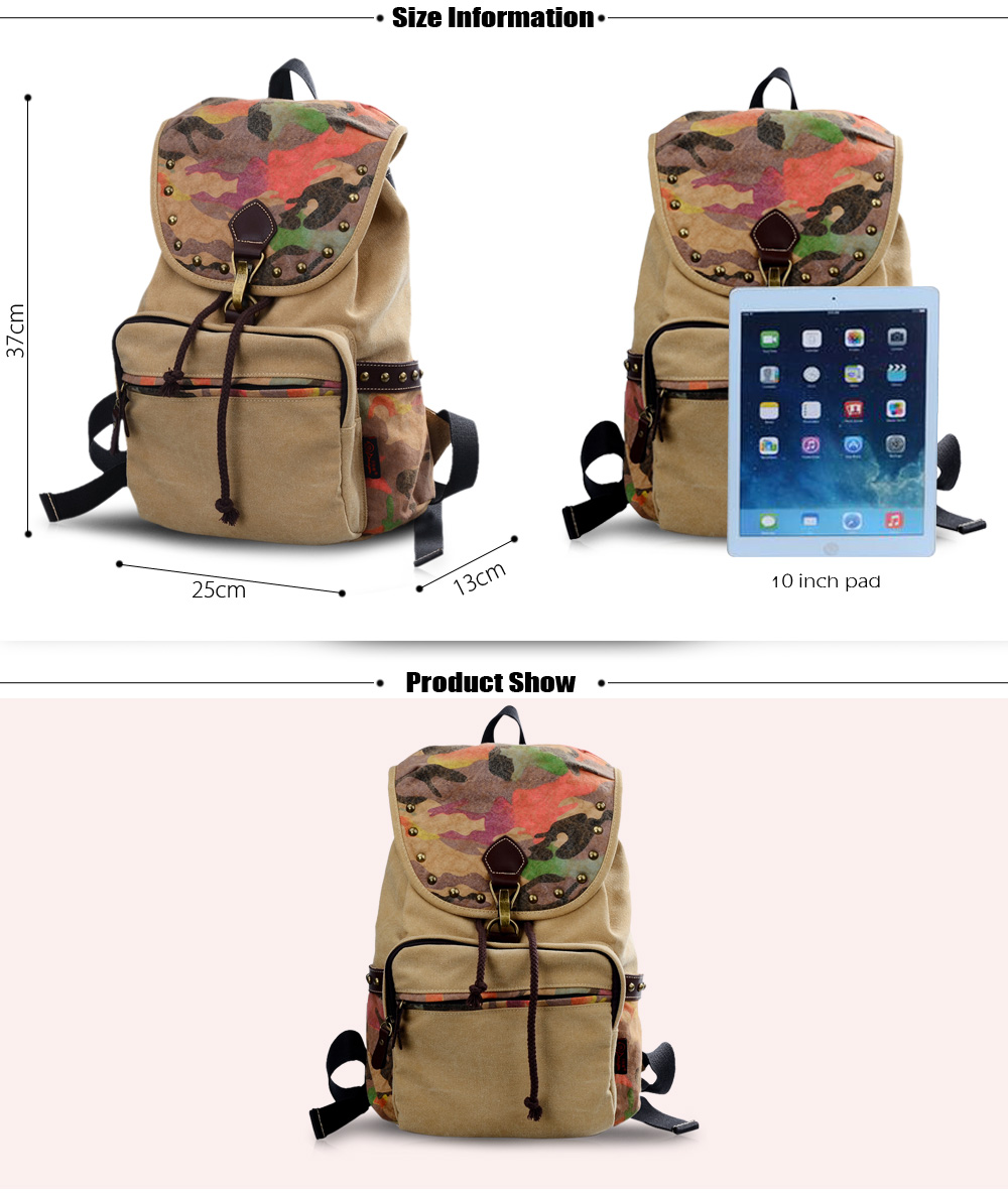 Douguyan 12L Camo Print Canvas Laptop Backpack Leisure Travel Shopping Bag