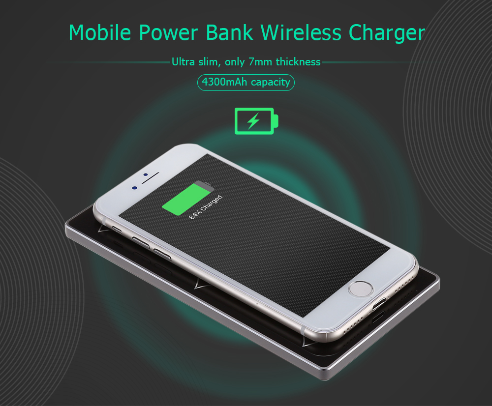 YMP Y1 Portable Wireless Charger Power Bank 4300mAh Ultra-slim Pad