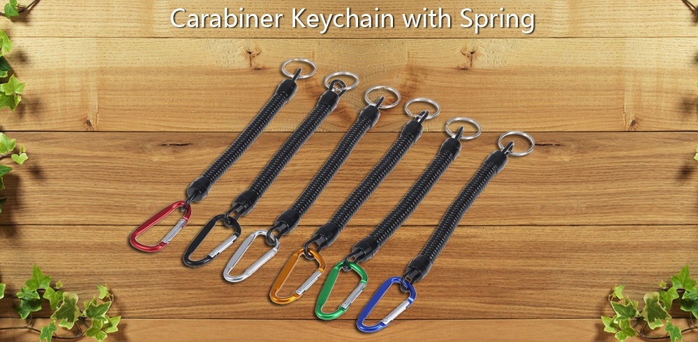 6pcs Tough Zinc Alloy Carabiner Keychain with TPU Spring / Key Ring