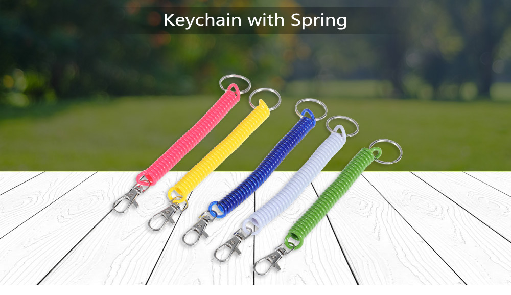 5pcs Tough Zinc Alloy Keychain with TPU Spring / Key Ring
