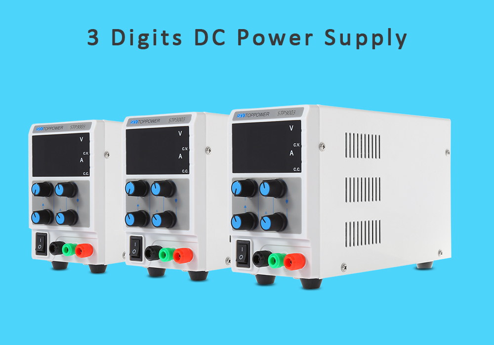 SKYTOPPOWER Digital Adjustable 3 Digits 0 - 30V / 0 - 3A DC Power Supply