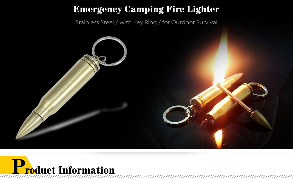 Bullet Shaped Emergency Fire Starter Camping Lighter with Key Ring for Outdoor Survival