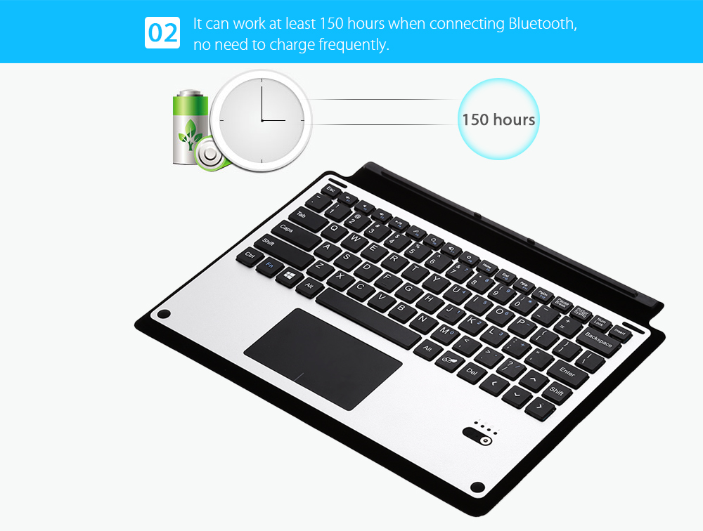 10.8 inch Bluetooth Keyboard for Microsoft Surface 3 PU Leather + Metal Material