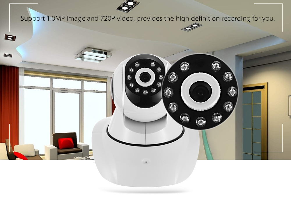 720P Pan Tilt 1.0MP Wireless IP Camera 85 Degree FOV Night Vision IR-cut